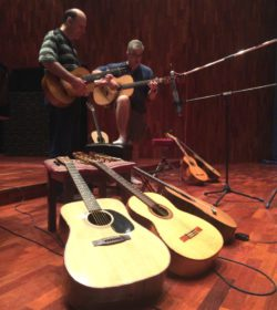 Charl Lamprecht and Werner Bessinger during the recording of Mahai at BOP studios.