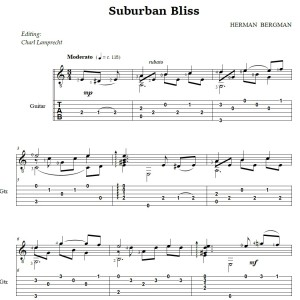 Suburban Bliss notation for Classical Guitar